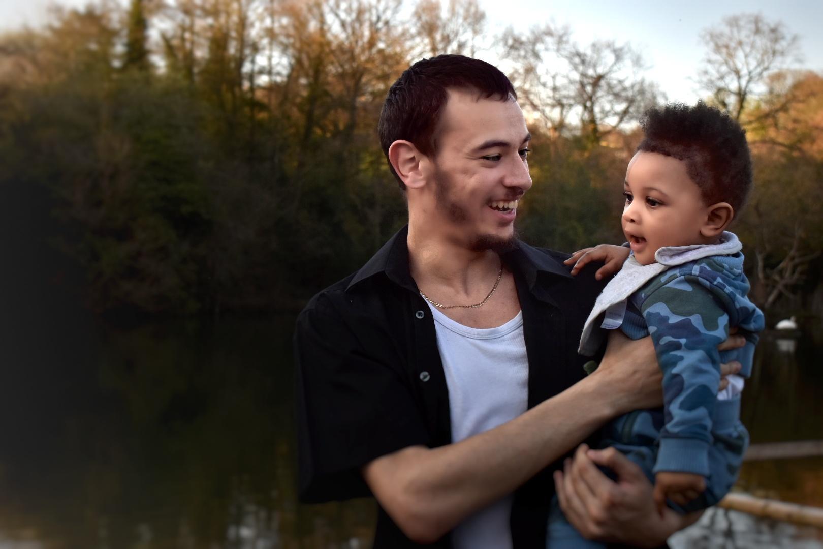 Family portraits, people, man & child,