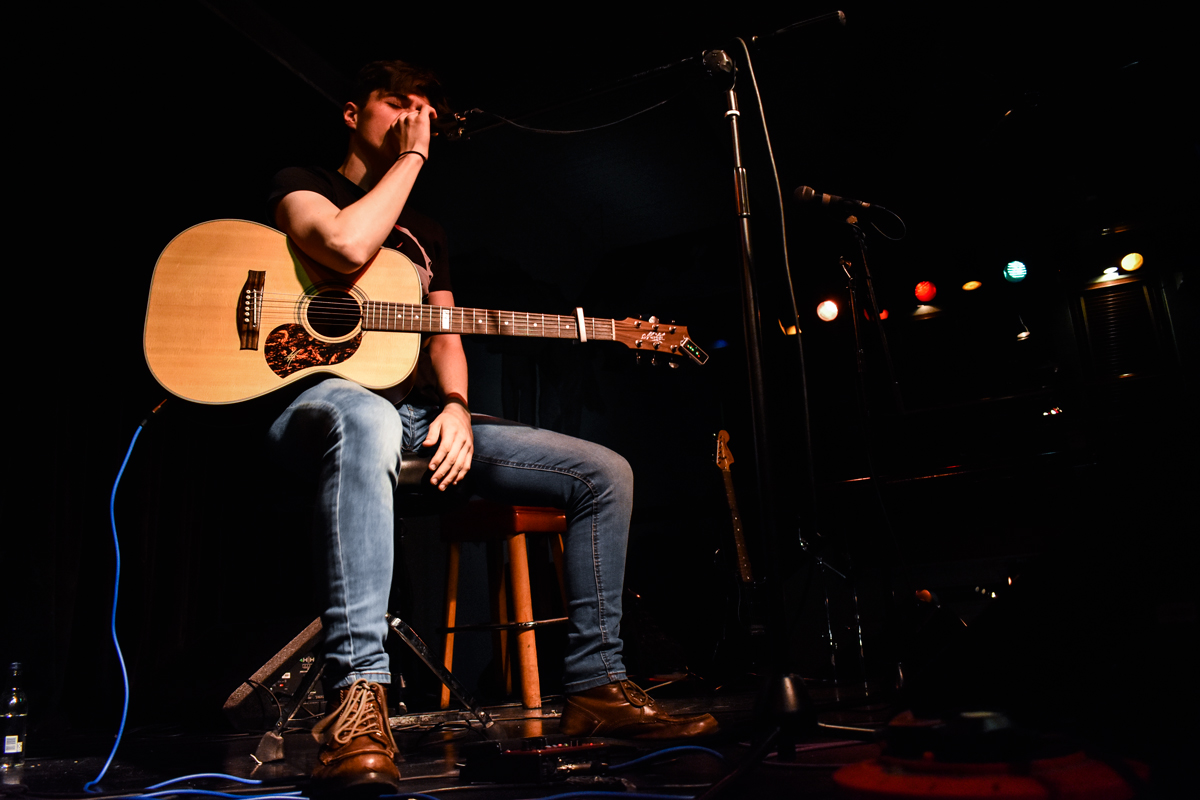Close up with Sean Duggan performing in Birmingham