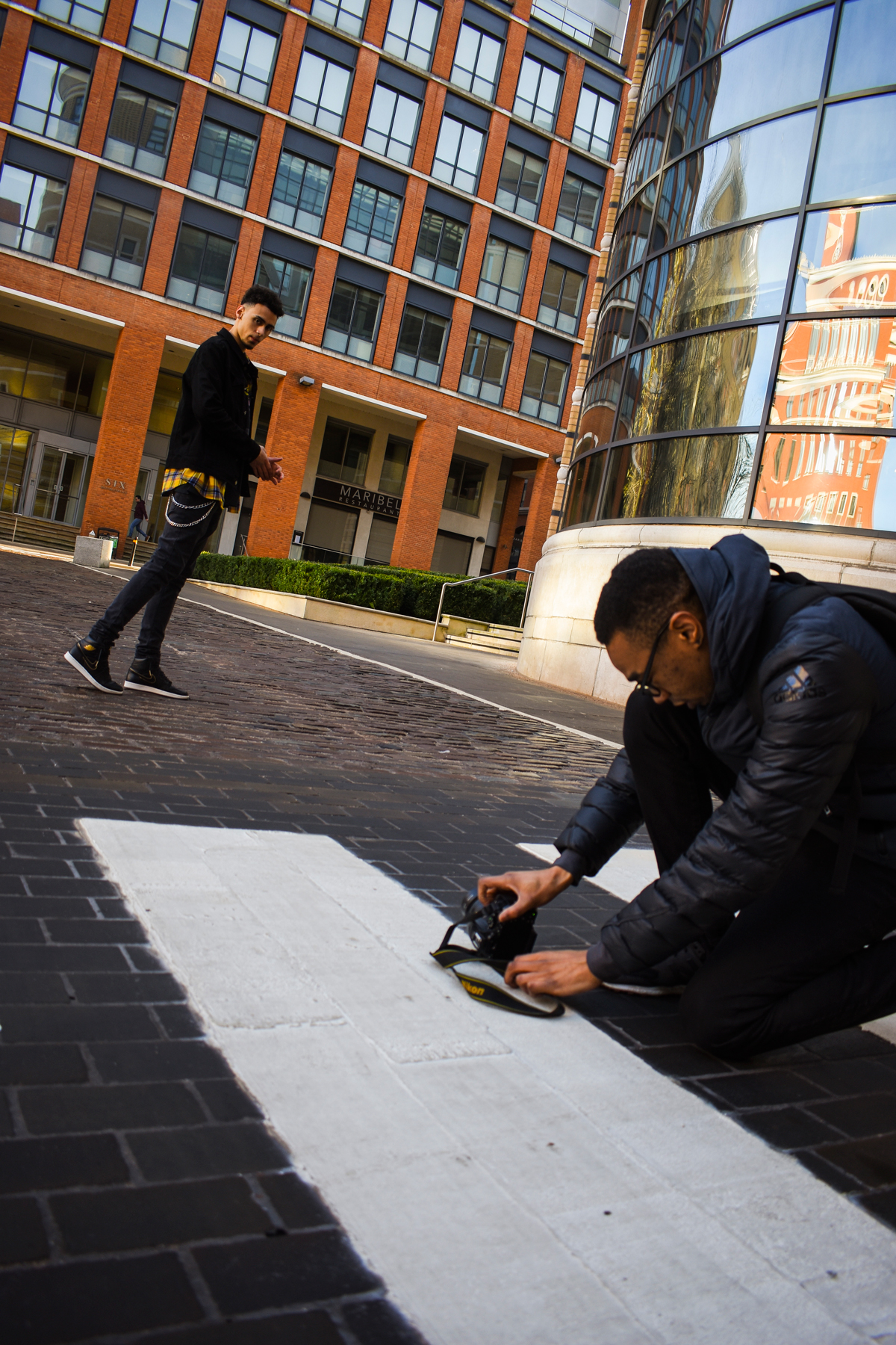 Brindley place with Cody & Alex having fun shooting fashion for instagram